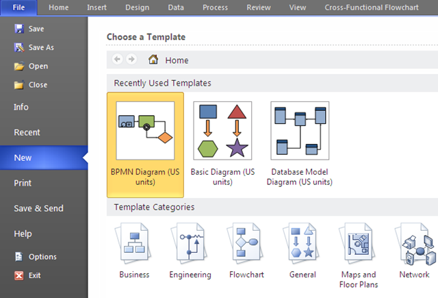 Importing a bpmn visio diagram as a bpm process in oracle bpm 11g upon clicking this you would see the bpmn shapes on the left and an empty visio diagram on the right ccuart Image collections