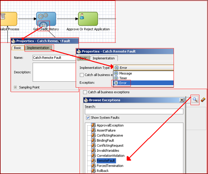 fault and business exception handling in oracle bpm suite 11g the wire from this error boundary event is drawn to the handle service remote fault subprocess that introduces a wait and loops it back to the service task